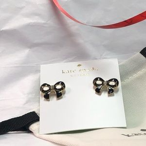 NEW KATE SPADE ♠️ BLACK BOW STUD EARRINGS
